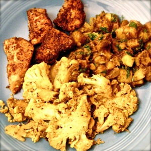 Cauliflower Thoran, Rubbed Chicken, Potato Masala. Momsicleblog
