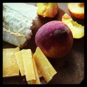 Aged gouda, baguette, peaches. MomsicleBlog