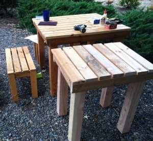 When a big picnic table and benches procreate they make a mini picnic table. MomsicleBlog