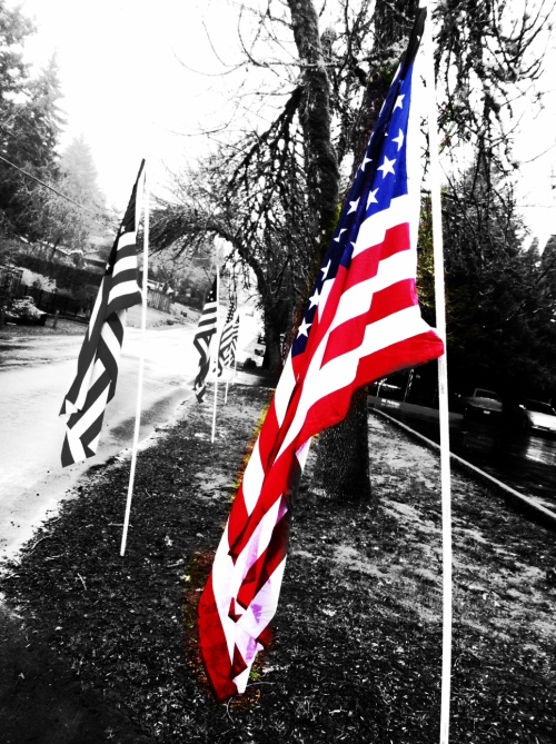 Flags at John Alex Pelham funeral, Portland, Oregon