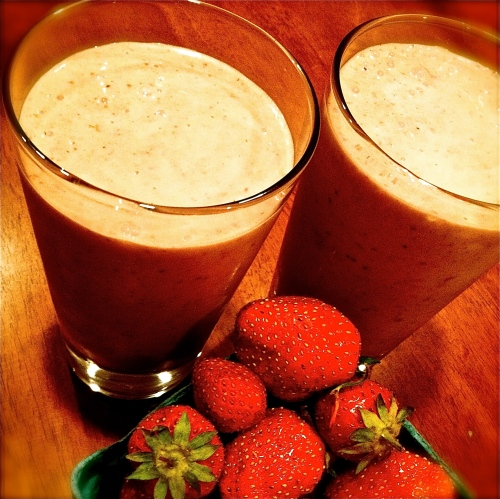Vegan Roasted Strawberry Milkshake. MomsicleBlog