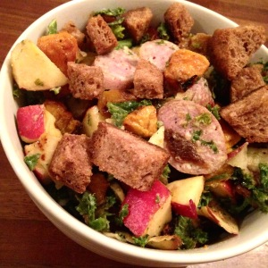 Kale Salad with Roasted Sweet Potatoes, Sausage, Apples, Croutons. MomsicleBlog