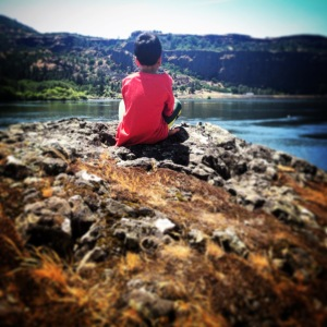K-Pants Meditating at Lyle. MomsicleBlog