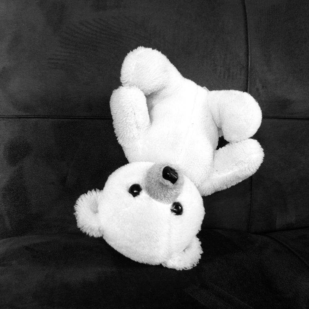 This is a stuffed bear from my childhood. It's upside down, standing on its head on a futon.